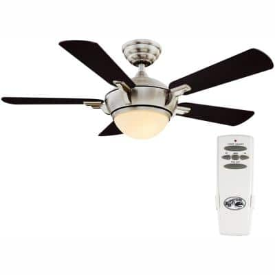 Midili 44 in. Indoor LED Brushed Nickel Dry Rated Ceiling Fan with 5 Reversible Blades, Light Kit and Remote Control