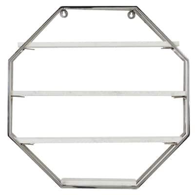 23 in. x 23 in. Silver Metal Contemporary Wall Shelf