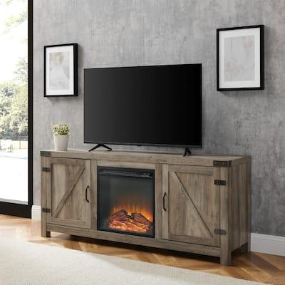 58 in. Grey Wash Barn Door Fireplace TV Stand
