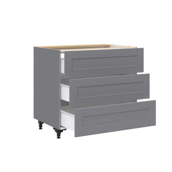 J Collection Shaker Assembled 36 In X 34 5 In X 24 In 3 Drawer Base Cabinet With 10 In Metal Drawer Boxes In Gray B3da36 Gs The Home Depot