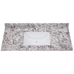 49 in. Stone Effect Vanity Top in Bianco Antico with White Sink