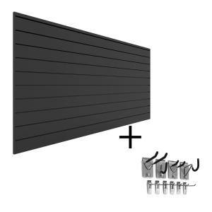 PVC Slatwall 8 ft. x 4 ft. Charcoal Mini Bundle (10-Piece)