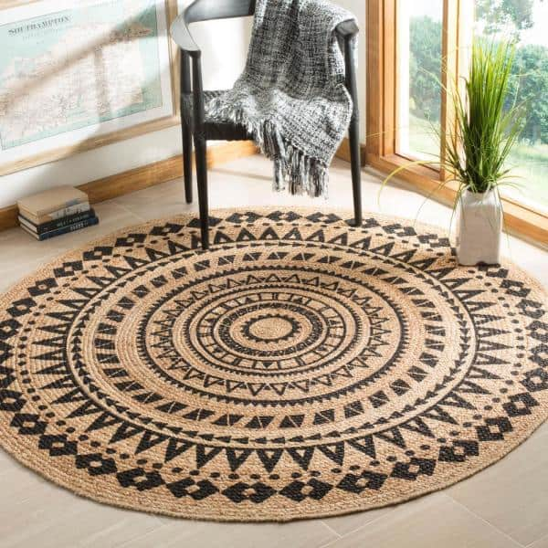 Safavieh Natural Fiber Black Beige 3 Ft X 3 Ft Round Indoor Area Rug Nf802k 3r The Home Depot