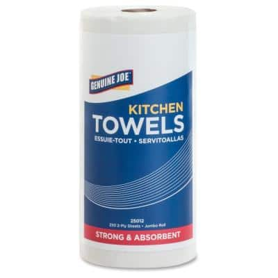 White Perforated Roll Towels 2-Ply (250 Sheet, 12/Carton)