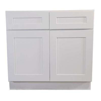 Brookings Plywood Ready to Assemble Shaker 36x34.5x24 in. 2-Door 2-Drawer Base Kitchen Cabinet in White