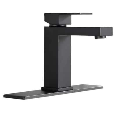 Black Single Hole Single Handle Bathroom Faucet with Deck Plate and Water Supply Hoses