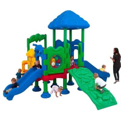 Discovery Center Commercial Playground 4 Deck with Roof Anchor Bolt Mounting