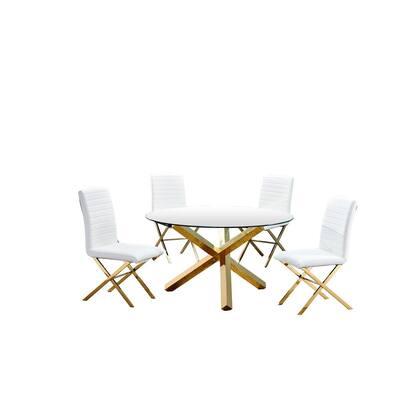 Dree 5-Piece White Round Gold Dining Set