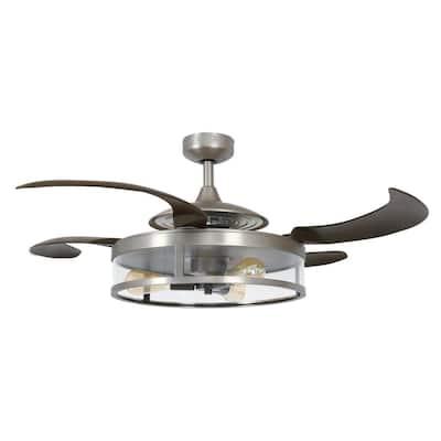 Classic Matt Nickel and Espresso Retractable 4-Blade 48 in. 3-Light Ceiling Fan