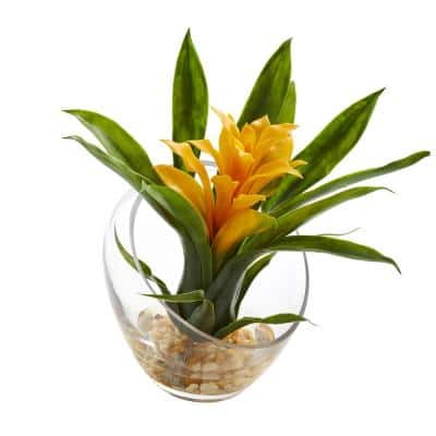 8 in. High Tropical Yellow Bromeliad in Angled Vase Artificial Arrangement