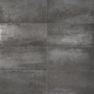 Forge Black 24 in. x 12 in. Matte Porcelain Floor and Wall Tile (7 Pieces, 13.56 sq. ft./Case)