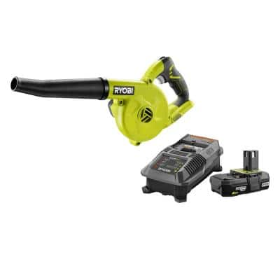 ONE+ 18V Cordless Compact Workshop Blower with 2.0 Ah Battery and Charger Kit