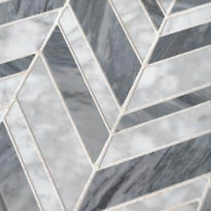 Carlton Gray 11.625 in. x 12 in. Chevron Marble Wall and Floor Mosaic Tile (0.968 sq. ft./Each)