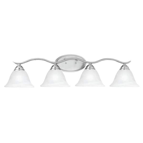 Thomas Lighting Prestige 4 Light Brushed Nickel Wall Vanity Light Sl748478 The Home Depot