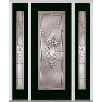 68.5 in. x 81.75 in. Heirlooms Left-Hand Full Lite Decorative Painted Fiberglass Smooth Prehung Front Door w/ Sidelites