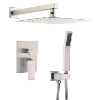 1-Spray Patterns with 2.5 GPM 12 in. Wall Mount Dual Shower Heads with Mixing Valve Included in Brushed Nickel