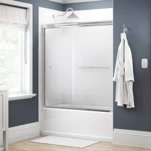 Simplicity 60 in. x 58-1/8 in. Semi-Frameless Traditional Sliding Bathtub Door in Chrome with Droplet Glass