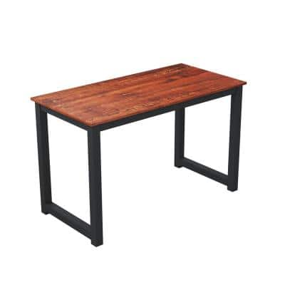 47 in. Black Sandalwood Modern Simple Style Computer Desk with Sturdy Metal Construction for Home Office
