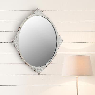 Small Oval White Victorian Mirror (11.654 in. H x 10.039 in. W)