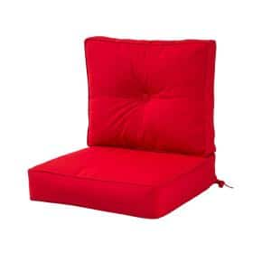 Sunbrella Jockey Red 2-Piece Deep Seating Outdoor Lounge Chair Cushion Set