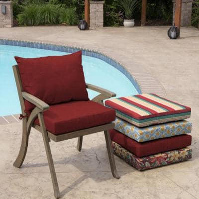 21 in. x 17 in. 2-Piece Deep Seating Outdoor Lounge Chair Cushion in Ruby Leala Texture