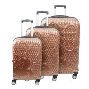 Disney Textured Minnie Mouse Hard Sided 3-Piece Rose Gold 29 in., 25 in., and 21 in. Suitcases Luggage Set