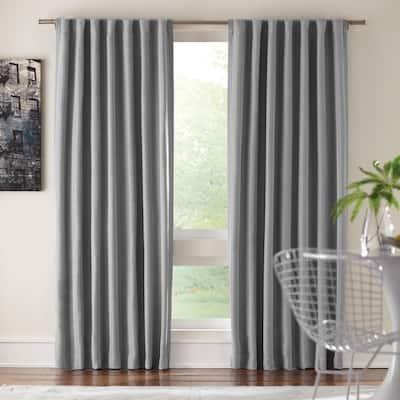 Gray Solid Back Tab Room Darkening Curtain - 54 in. W x 108 in. L