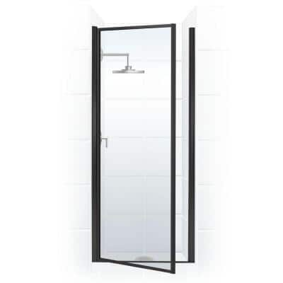 Legend 23.625 in. to 24.625 in. x 64 in. Framed Pivot Shower Door in Matte Black with Clear Glass