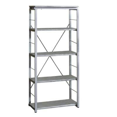 Industrial 54 in. H Silver and Gray Bookshelf with 4-Shelves and Open Metal Frame