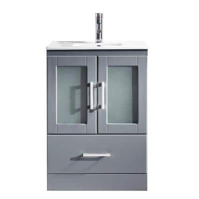 Zola 24 in. W Bath Vanity in Gray with Ceramic Vanity Top in Slim White Ceramic with Square Basin and Faucet