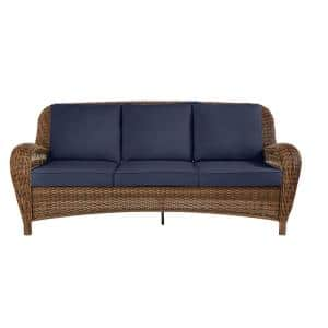 Beacon Park Brown Wicker Outdoor Patio Sofa with CushionGuard Midnight Navy Blue Cushions