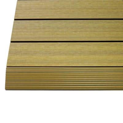 1/6 ft. x 1 ft. Quick Deck Composite Deck Tile Straight Fascia in English Oak (4-Pieces/Box)