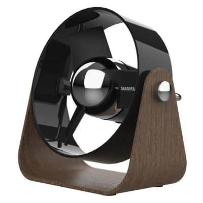 SBS1 USB Fan with 4.8 in. Soft Blades, 2 Speeds, Touch Control, Quiet Operation, 6 ft. USB Cable and Wall Adapter, Black