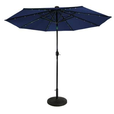 Sun-Ray 9 ft. Steel Round Market Solar Lighted Patio Umbrella with 8-Rib, 32-LED in Navy