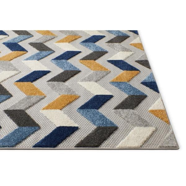Well Woven Dorado Bela 7 Ft 10 In X 9 Ft 10 In Modern Geometric Chevron Blue High Low Indoor Outdoor Area Rug Do 24 7 The Home Depot