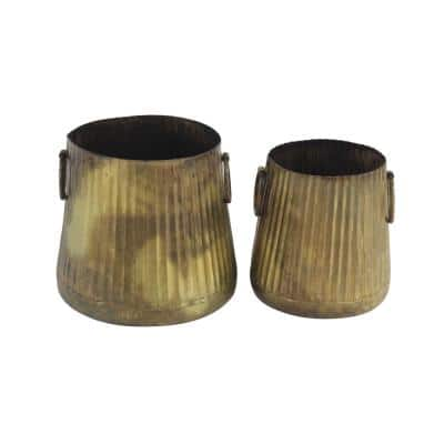 Ridged Gold Metal Planters with Loop Handles (Set of 2)