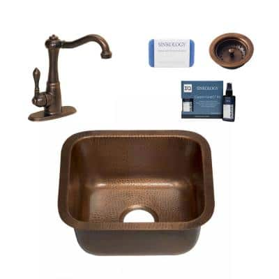 Sisley Pro 18 Gauge Copper 19 in. Undermount Bar Sink with Pfister Faucet and Drain