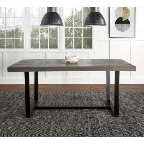 Walker Edison Furniture Company 72 In Grey Rustic Urban Industrial Farmhouse Distressed Solid Wood Dining Table Hdw72dswgy The Home Depot