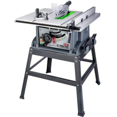 10 in. 15 Amp Table Saw with Metal Stand, Miter Gauge, Push Stick and Rip Fence