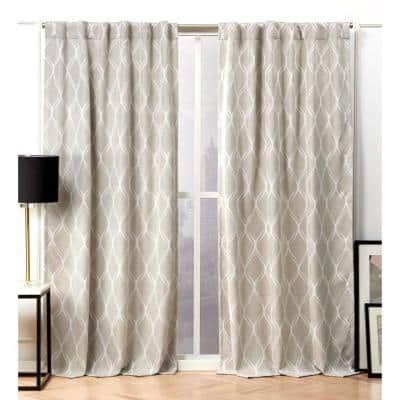 Linen Trellis Blackout Curtain - 52 in. W x 96 in. L