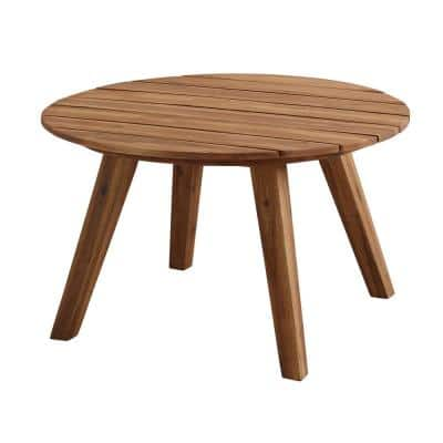 30 in. Brown Round Acacia Wood Outdoor Patio Coffee Table