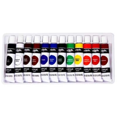Premium Assorted Acrylic Paint Set for Arts and Crafts, 12 Vibrant Colors