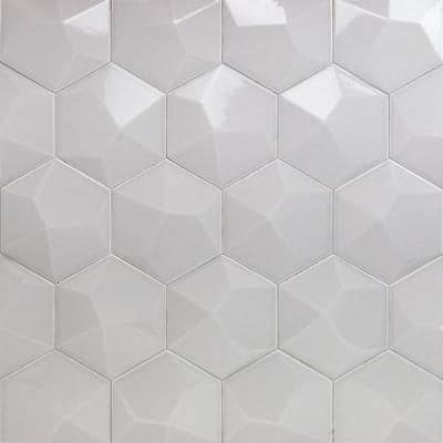 Bethlehem 3D Hexagon Pearl 5.9 in. x 6.96 in. x 8mm Polished Ceramic Wall Tile (25 pieces / 5.4 sq. ft. / box)