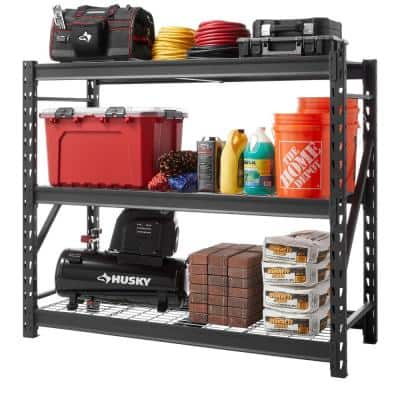 Black 3-Tier Heavy Duty Industrial Welded Steel Garage Shelving Unit (65 in. W x 54 in. H x 24 in. D)