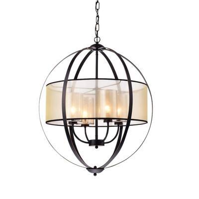 Bastien 28 in. 4-Light Indoor Brown Finish Pendant Lamp Chandelier with Light Kit