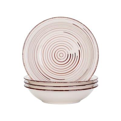 Series Bella 8 in. Soup Plate Porcelain in Vintage Look Beige Dinnerware Set (Service for 4)