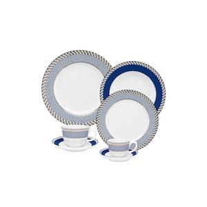 Flamingo 42-Piece Blue and White Porcelain Dinnerware Set (Service for 6)