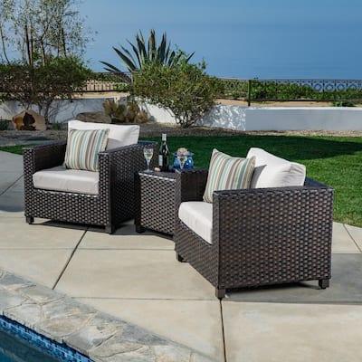 Naples 3-Piece All-Weather Wicker Patio Conversation Set with Sunbrella Beige Cushions