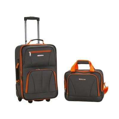 Rio Expandable 2-Piece Carry On Softside Luggage Set, Charcoal