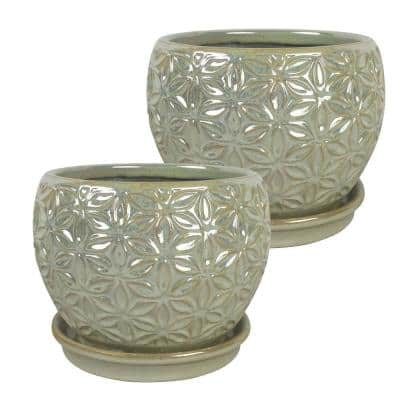 Elora 8 in. Dia  Pearl Ceramic Pot (2-Pack)